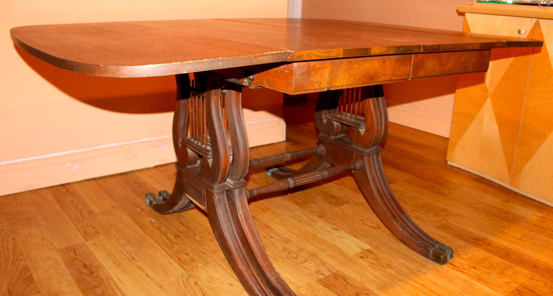 Rare Vintage Drexel Mahogany Dining Room Table with Lyre  : IMG0937JPGixlibrb 11 from www.ebth.com size 1400 x 749 jpeg 173kB