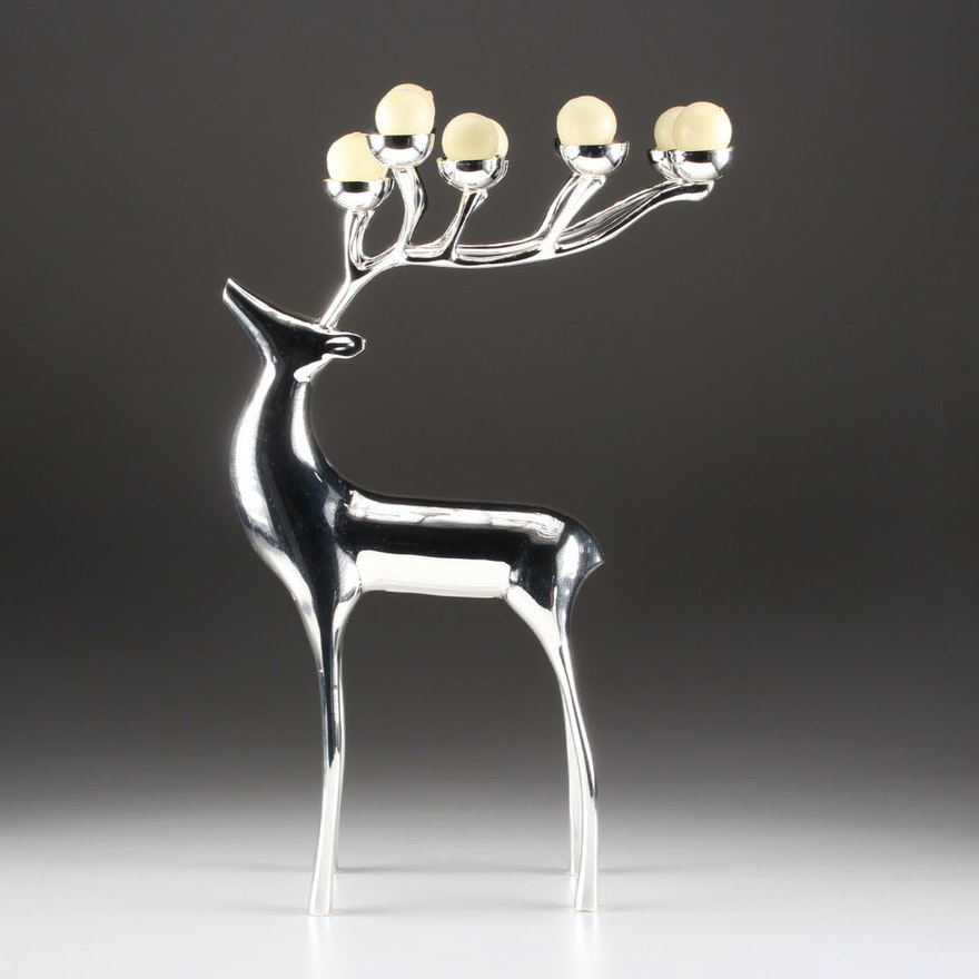 home decor cincinnati. Pottery Barn Silver Plate Reindeer Candelabra with White Candles Holiday Decor Auctions  Christmas in Cincinnati