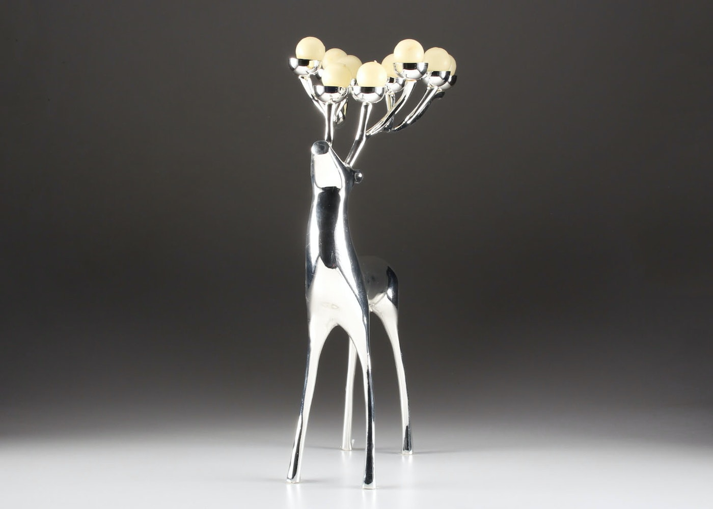 Pottery Barn Silver Plate Reindeer Candelabra With White