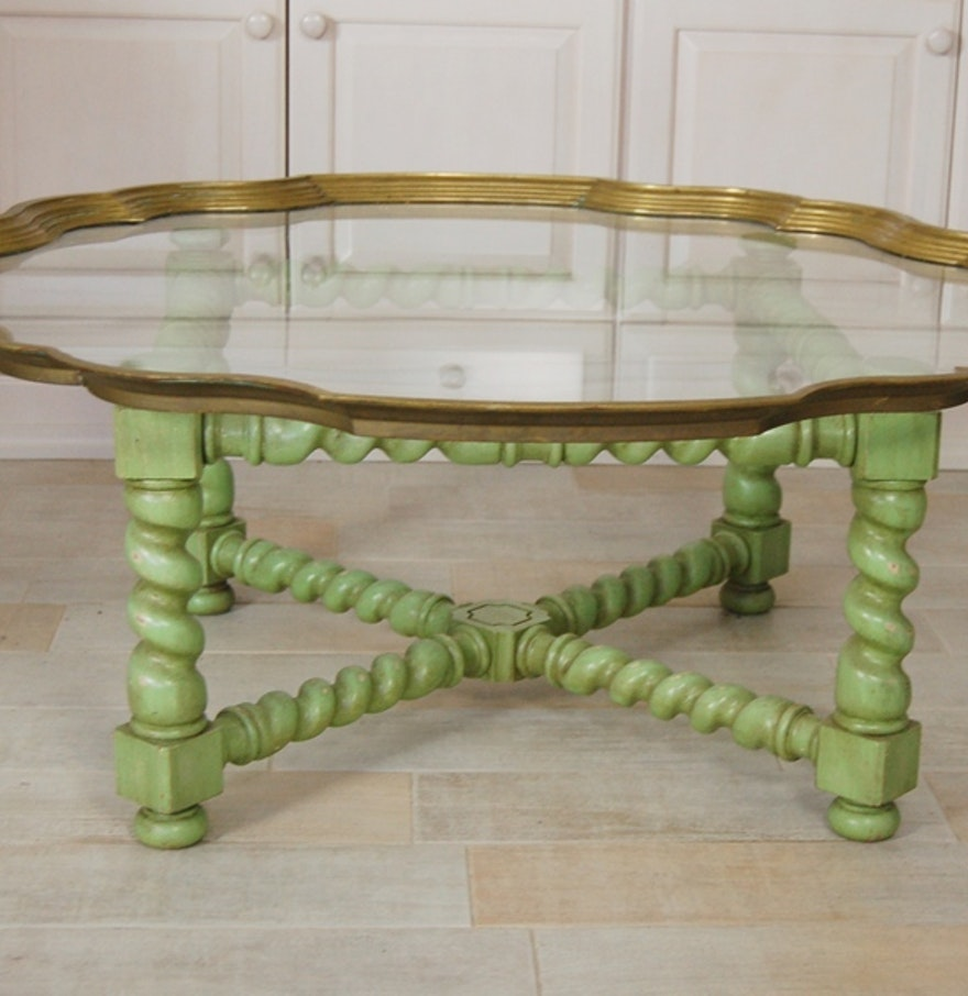 Vintage Baker Brass Edged Pie Crust Glass Top Coffee Table