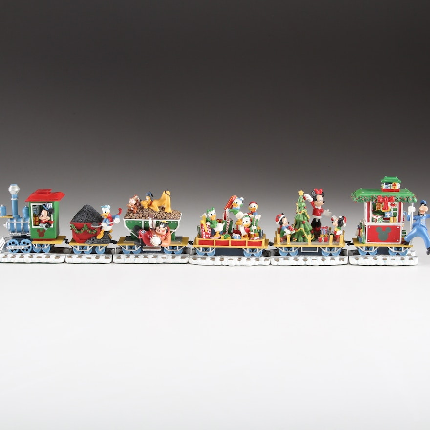 Christmas Train Cast.Disney Danbury Mint Mickeys Christmas Train Set