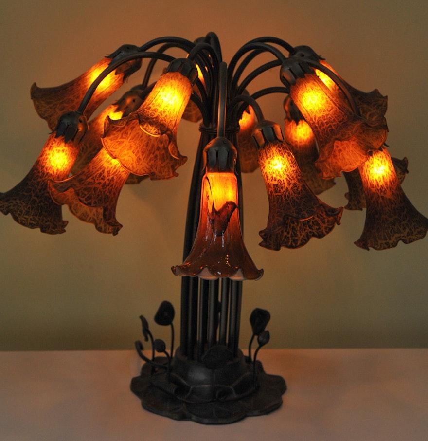 Twelve arm tiffany style lily pad lamp ebth for Tiffany style lily bronze amber floor lamp