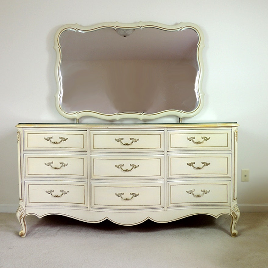 Thomasville French Provincial Triple Dresser With Mirror