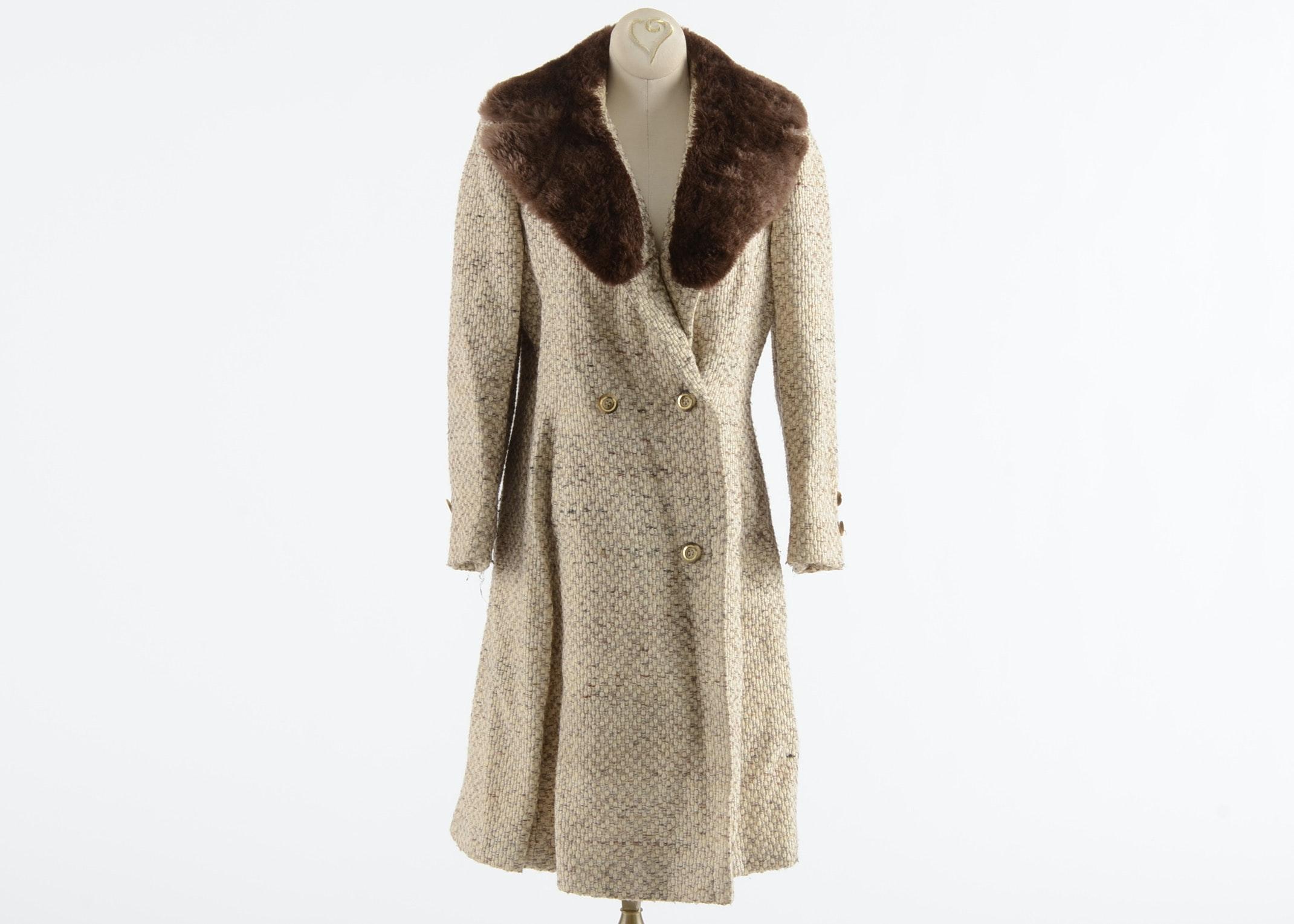 1970s Stegari New York Wool Tweed and Sheared Beaver Fur Coat : EBTH