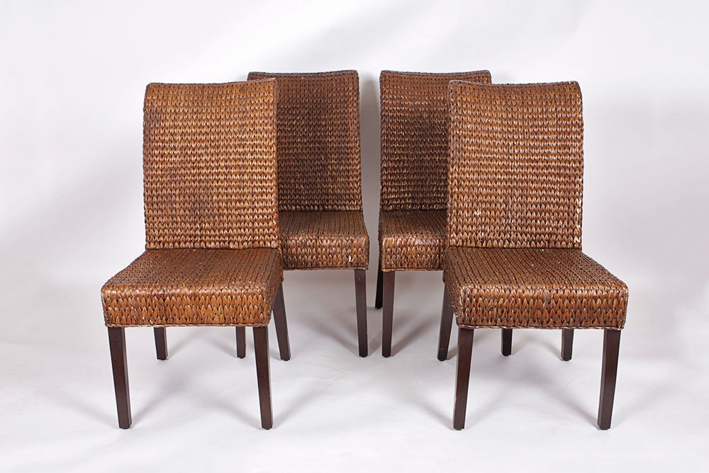 Set Of Four Woven Rattan Chairs ...