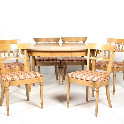 Circa 1960s Drexel Fruitwood Dining Table And Chair Set