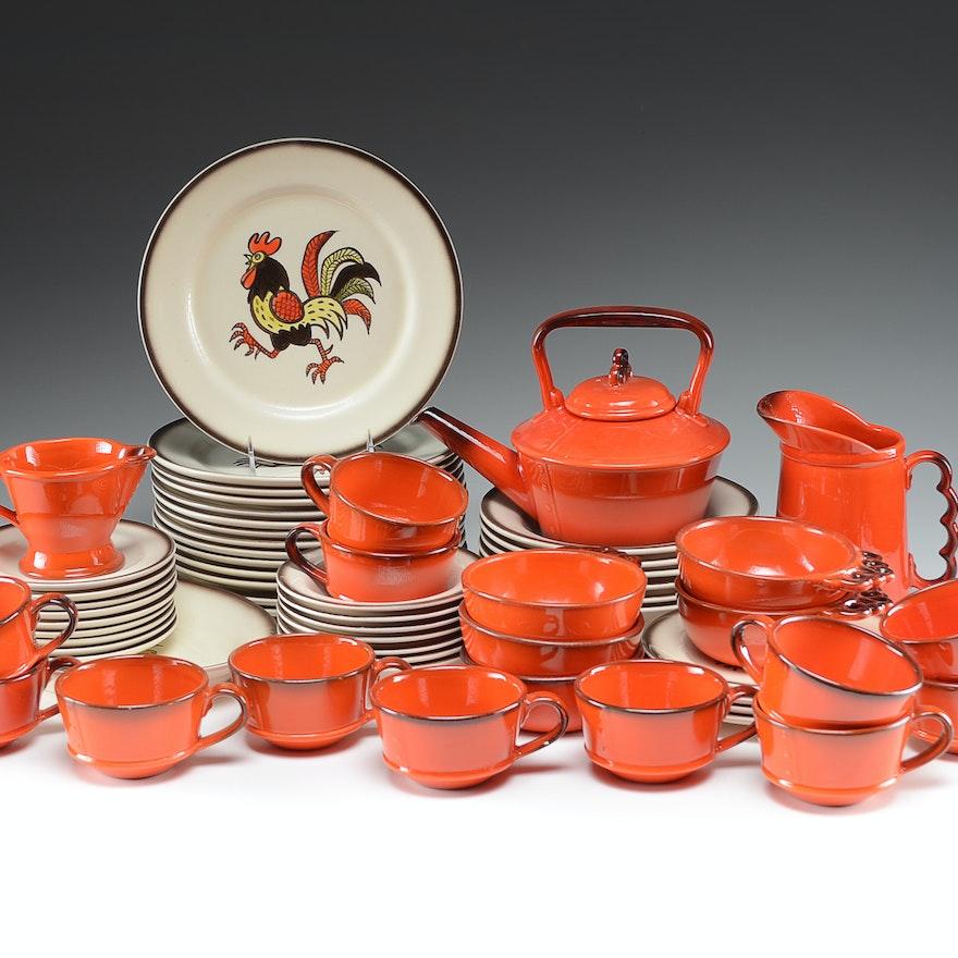 Vintage Metlox Poppytrail Red Rooster Dinnerware Set : EBTH