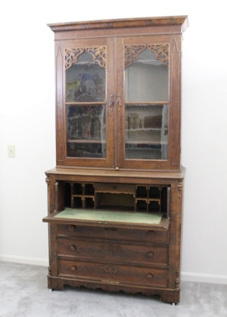 Th Century Writing Bureau And Glass Cabinet