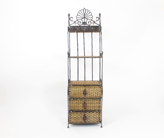 Iron And Wicker Bombe Bakers Rack With Drawers ...