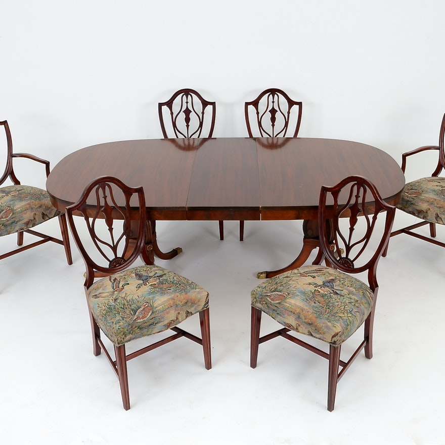 Duncan Phyfe Style Table With Six Federal Dining Chairs