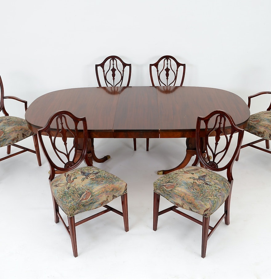 Duncan phyfe style table with six federal style dining for Dining table and six chairs
