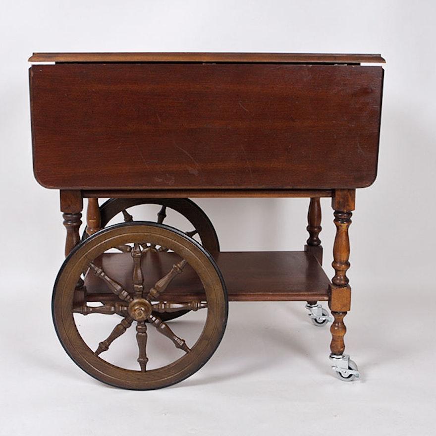 Vintage Wooden Tea Cart On Casters