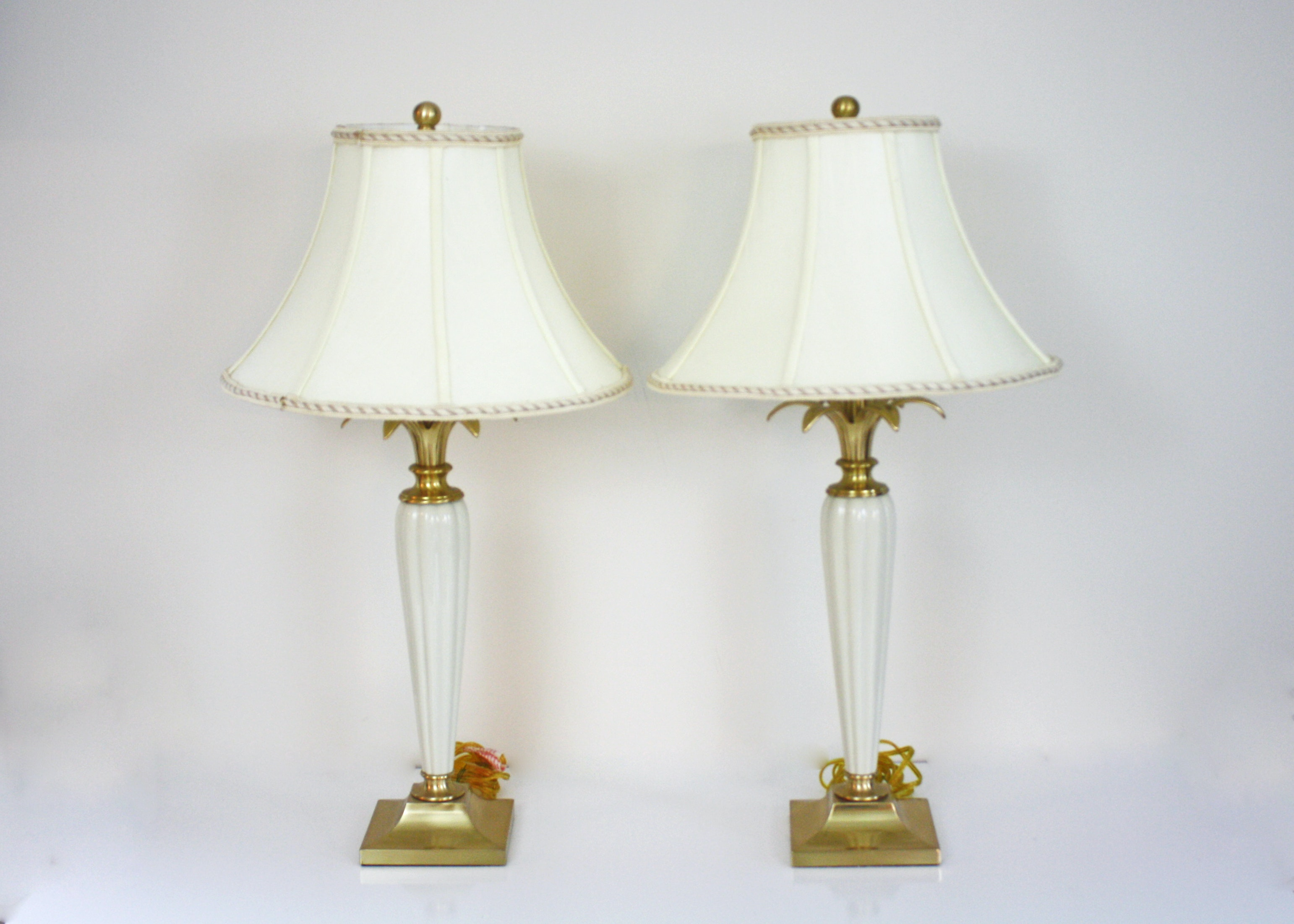 Pair Of Lenox Brass And Porcelain Table Lamps Ebth