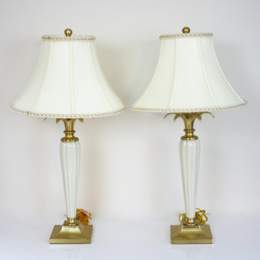 Pair of lenox brass and porcelain table lamps ebth for Table 6 lenox