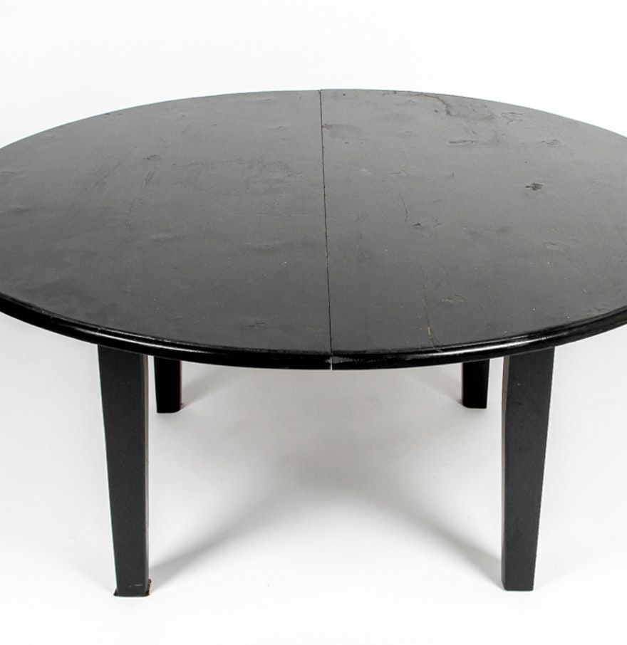 Round black painted coffee table ebth round black painted coffee table geotapseo Images