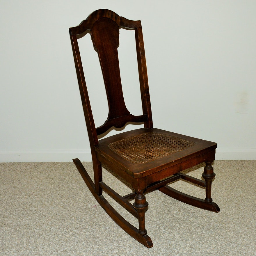 Antique Nursing Rocking Chair with Cane Seat ... - Antique Nursing Rocking Chair With Cane Seat : EBTH