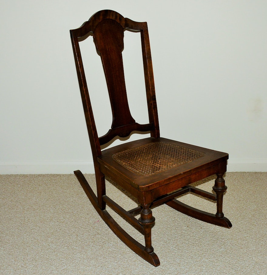 antique nursing rocking chair with cane seat ebth. Black Bedroom Furniture Sets. Home Design Ideas