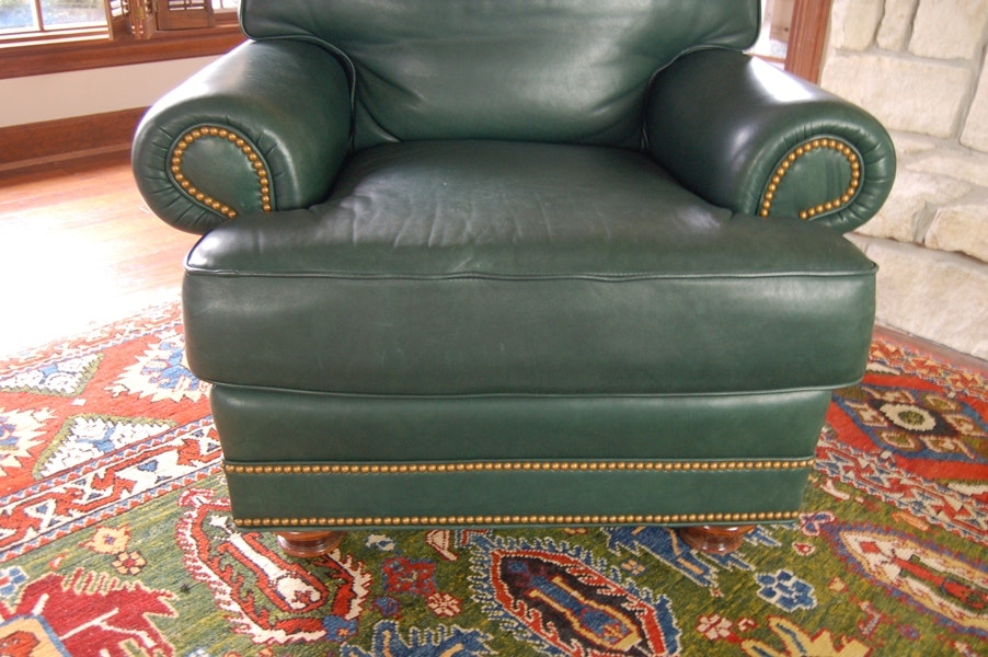 Leathercraft Leather Lounge Chair And Ottoman Ebth