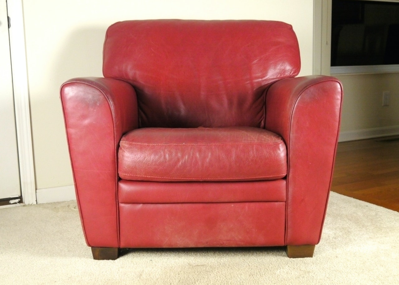Red Leather Armchair And Ottoman By Natuzzi ...