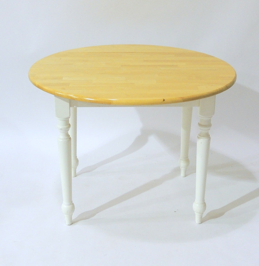 Solid wood round drop leaf dining table ebth for Solid wood round tables dining