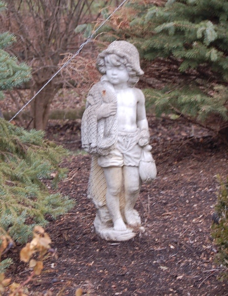 Concrete Garden Statue Of Boy With Fishing Net