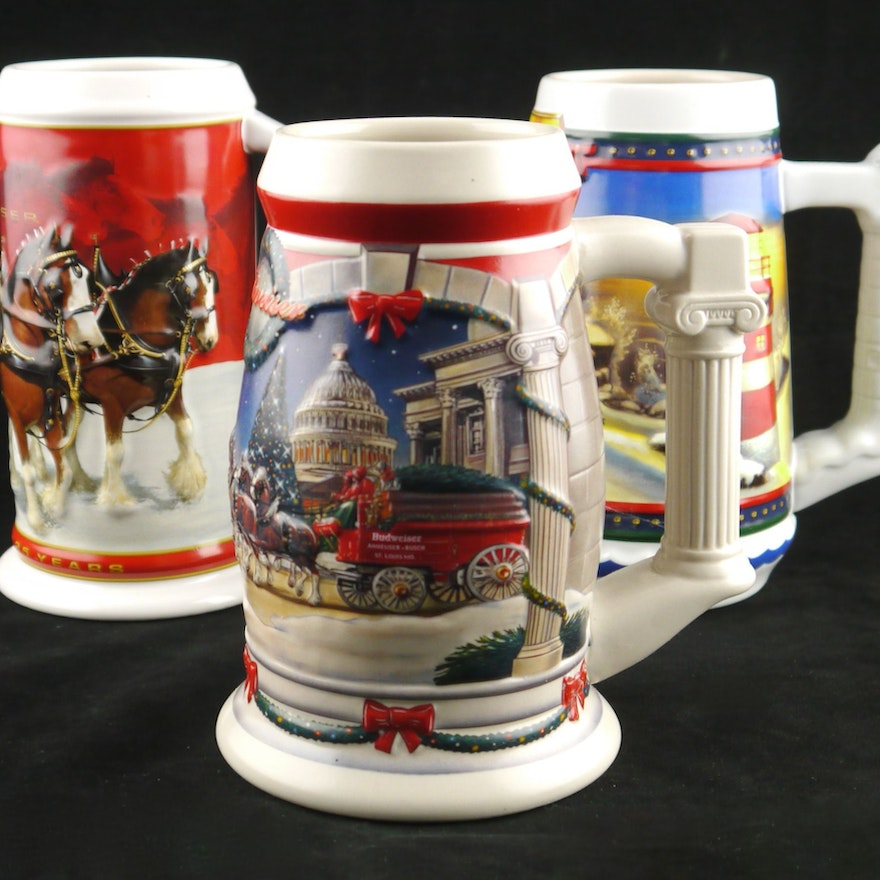 collection of budweiser christmas steins - Budweiser Christmas Steins