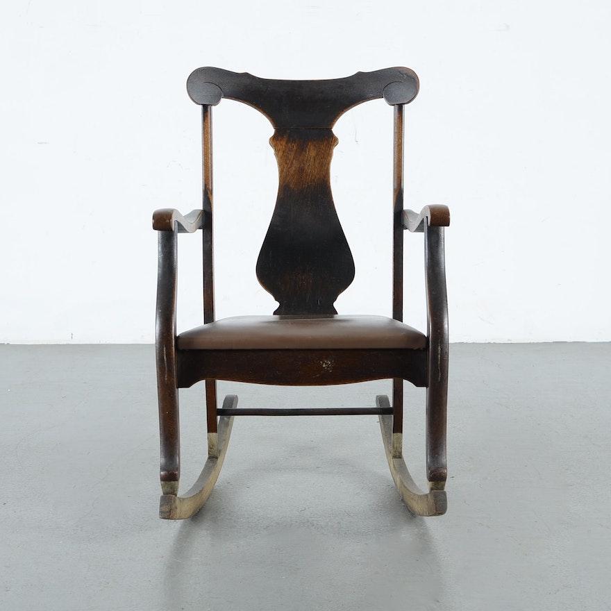 Swell Fiddle Back Antique Rocking Chair Inzonedesignstudio Interior Chair Design Inzonedesignstudiocom