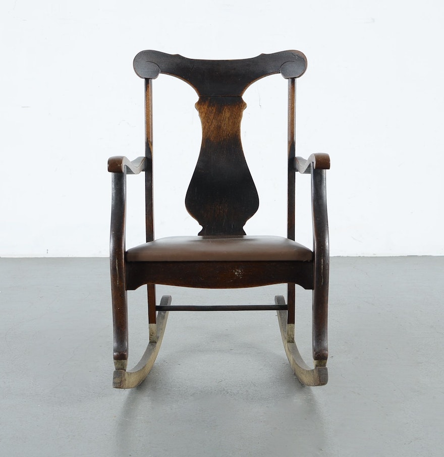 Fiddle Back Antique Rocking Chair Ebth