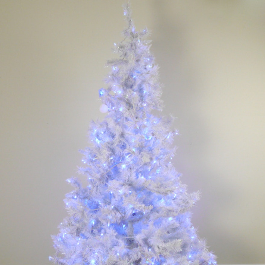 White Christmas Tree With Blue Lights.Pre Lit White Christmas Tree With Blue Lights