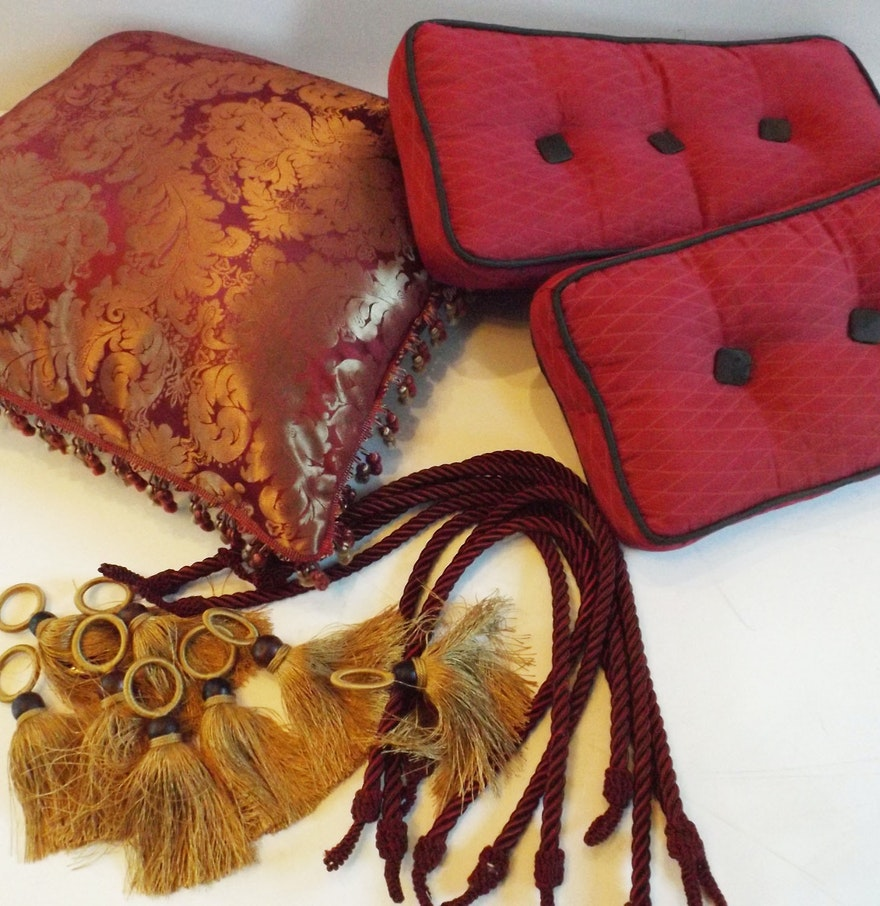 Pillows and Fringed Curtain Tiebacks in Cognac and Burgundy : EBTH