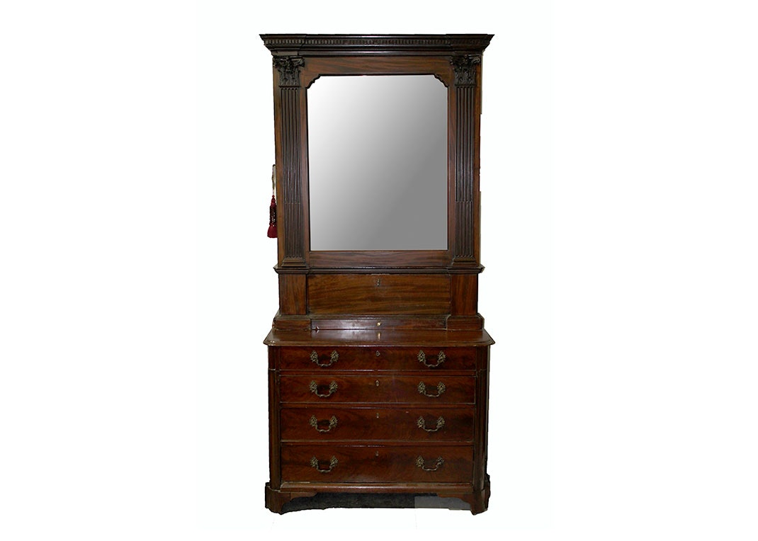 stunning antique mahogany secretary armoire ebth. Black Bedroom Furniture Sets. Home Design Ideas
