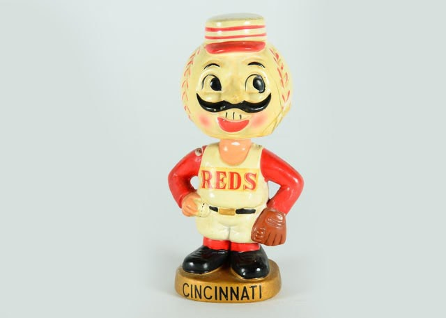 "1960s Original Cincinnati Reds ""Mr. Red"" Mascot Bobble Head Doll"
