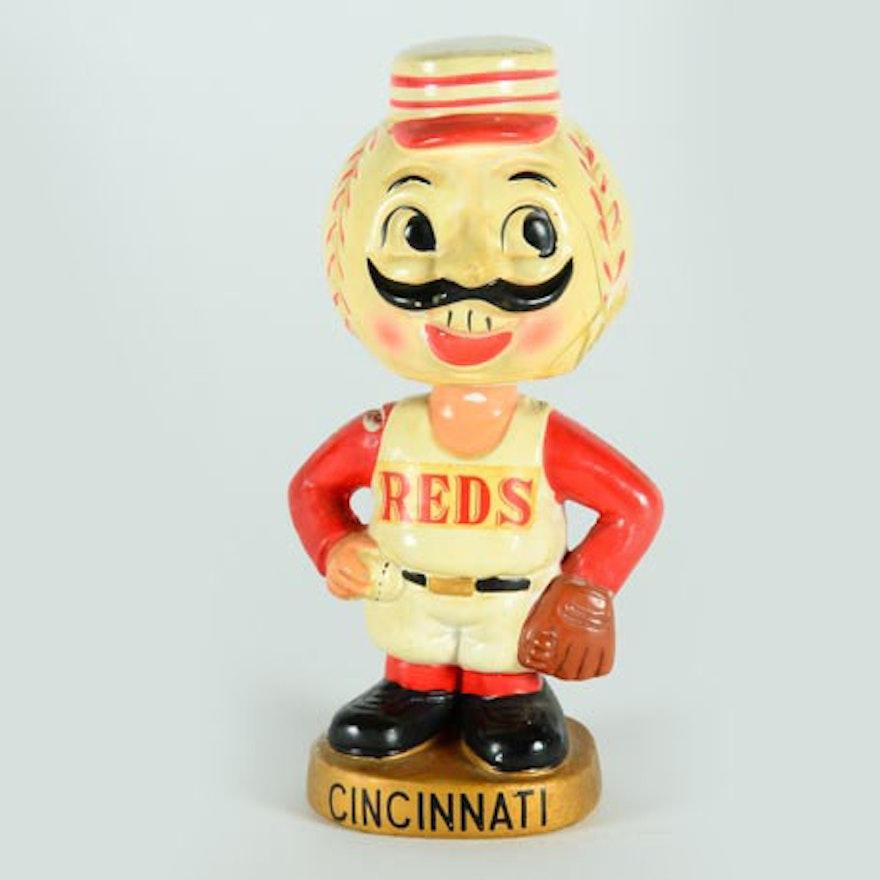 "1960s Original Cincinnati Reds ""Mr. Red"" Mascot Bobble Head Doll"