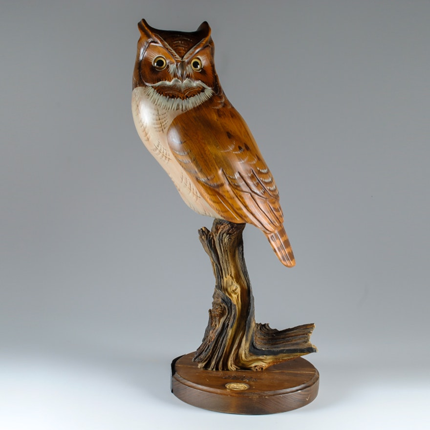 K w white owl wood carving ebth