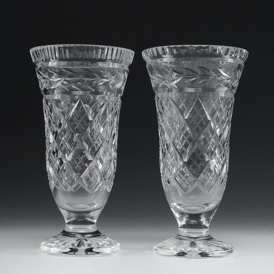 Pair Of Waterford Crystal Celery Vases Ebth