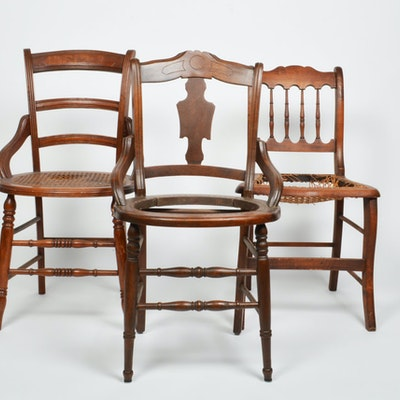 Three Antique Project Chairs - Vintage Chairs, Antique Chairs And Retro Chairs Auction In