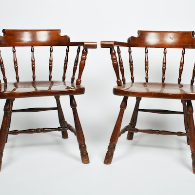 English Barrel Back Spindle Chairs - Vintage Chairs, Antique Chairs And Retro Chairs Auction In