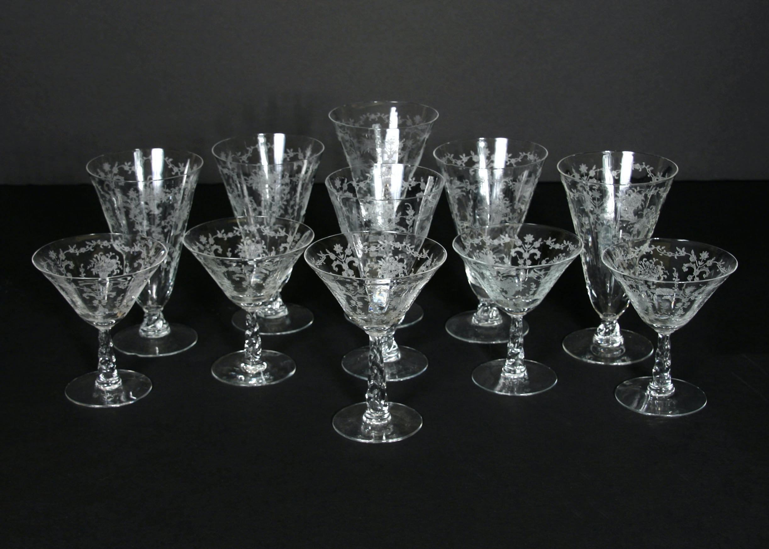 Set of Vintage Fostoria Glassware in Mayflower Pattern