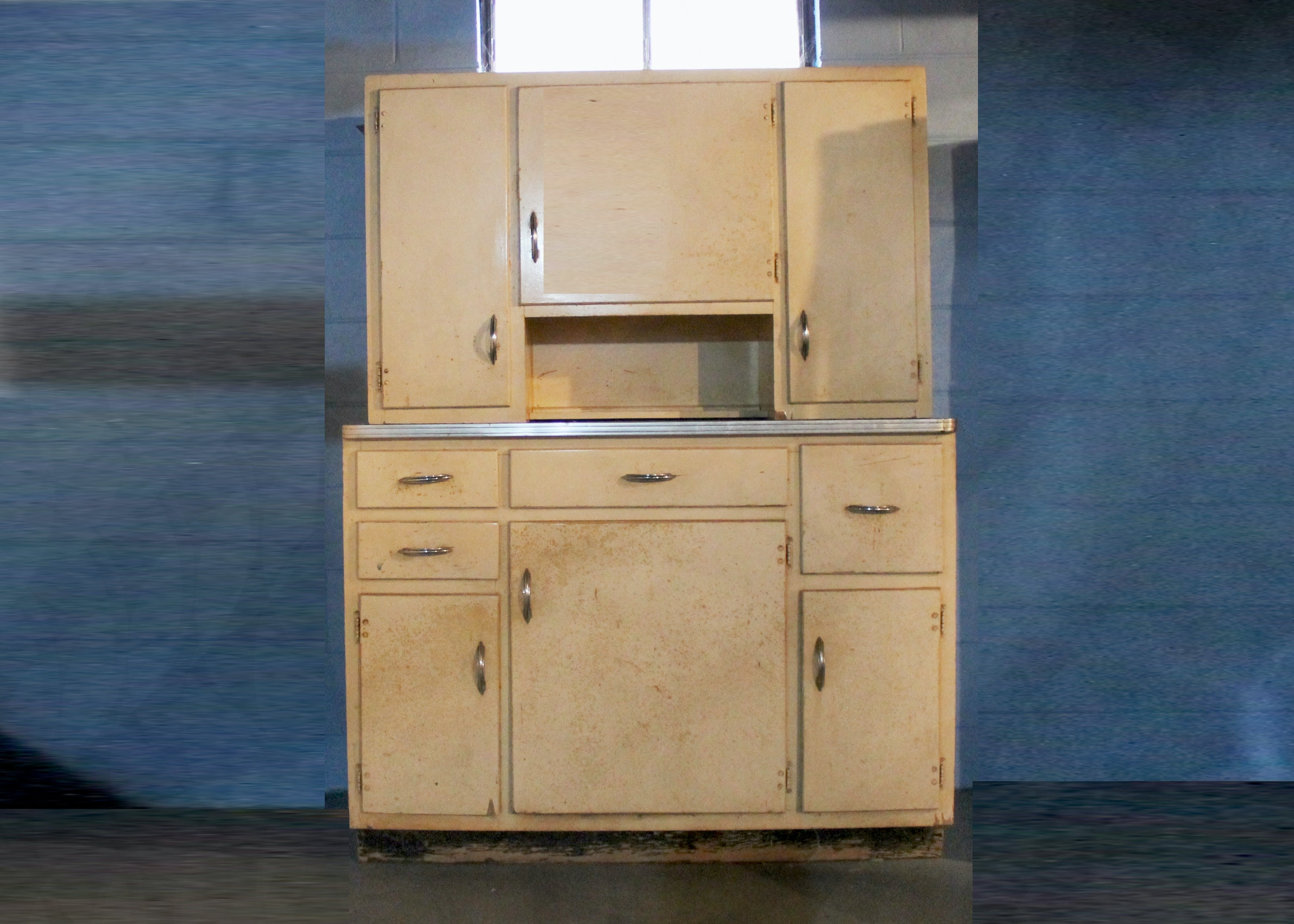 Vintage Hoosier Style Cabinet With Chrome Trim And Handles