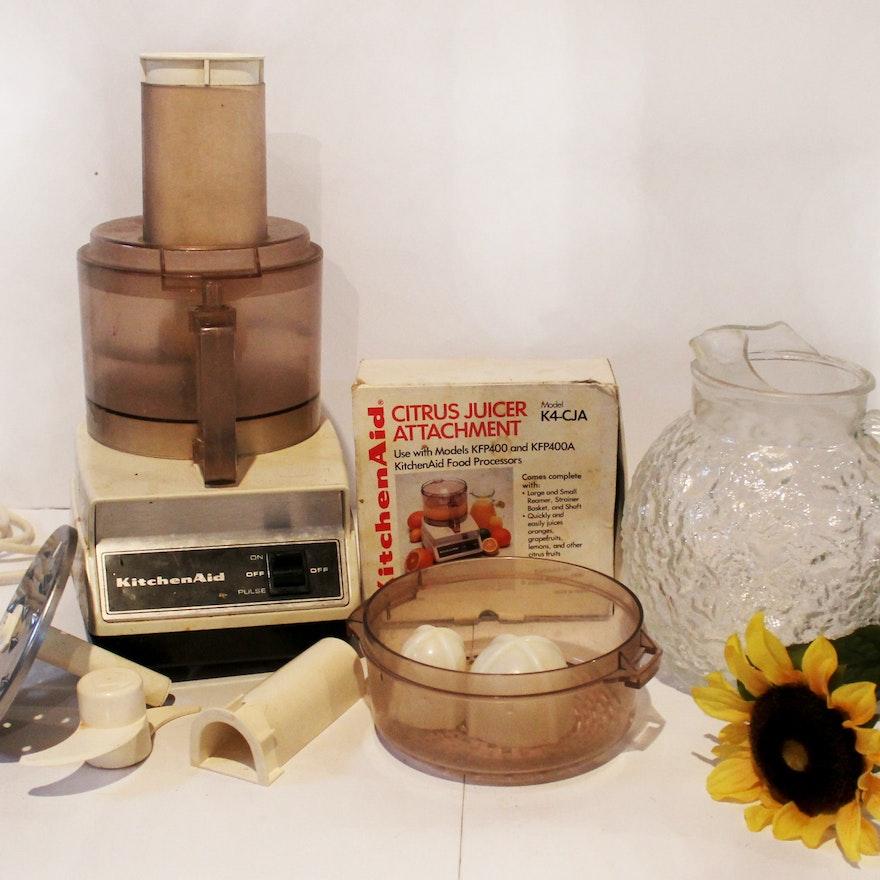 Vintage Kitchenaid Food Processor And Citrus Juicer Attachments Ebth
