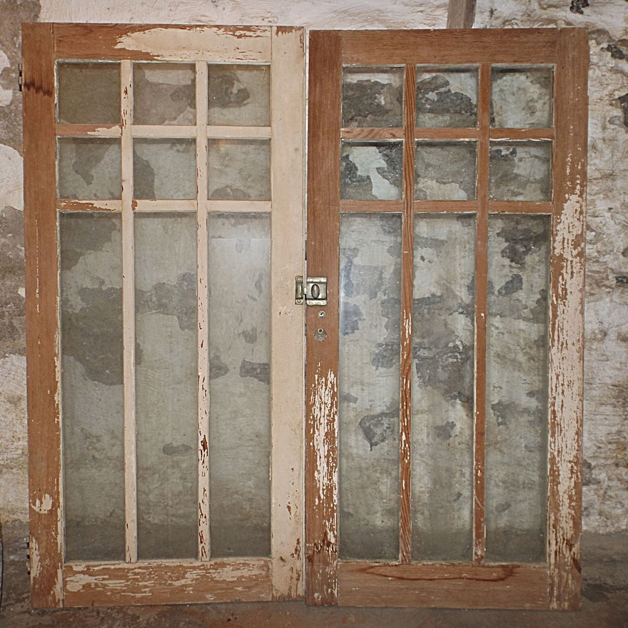 Old Glass Paned Cabinet Doors From An Arizona Jail