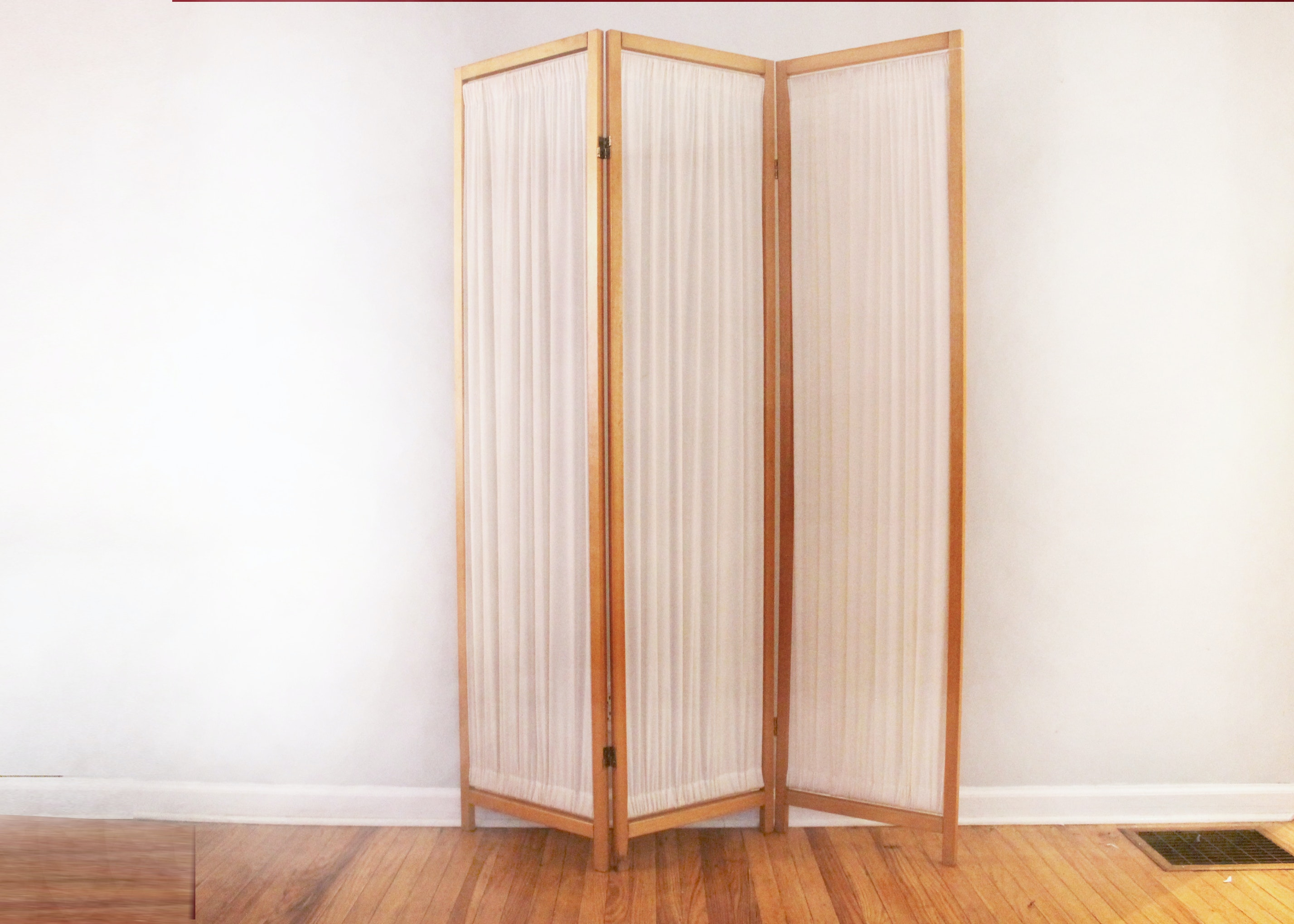 Folding Three Panel Wood and Fabric Room Divider Partition ...