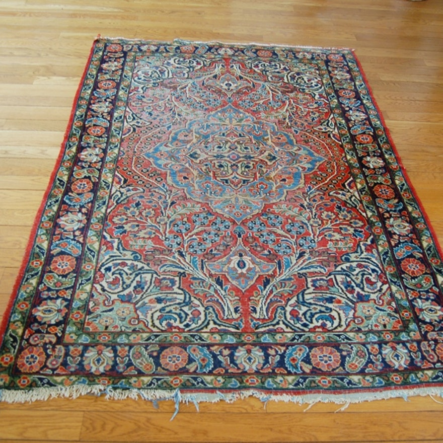 Persian Isfahan Style Hand-Knotted 100% Wood Area Rug