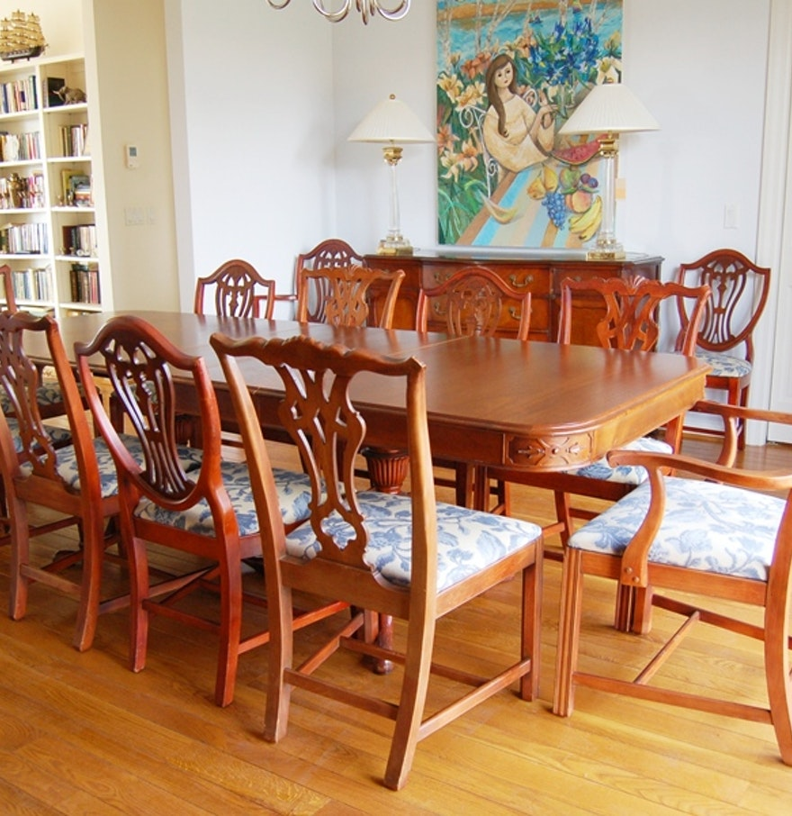Vintage Drexel Mahogany Dining Table And Chairs For Twelve
