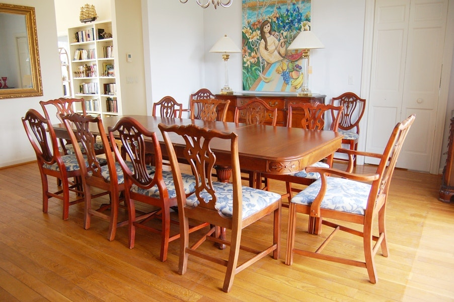 Vintage Drexel Mahogany Dining Table And Chairs For Twelve ...