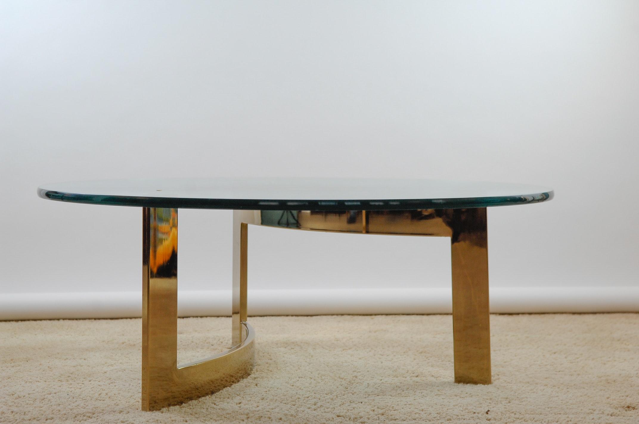 Vintage Brass And Glass Sofa Table Ebth