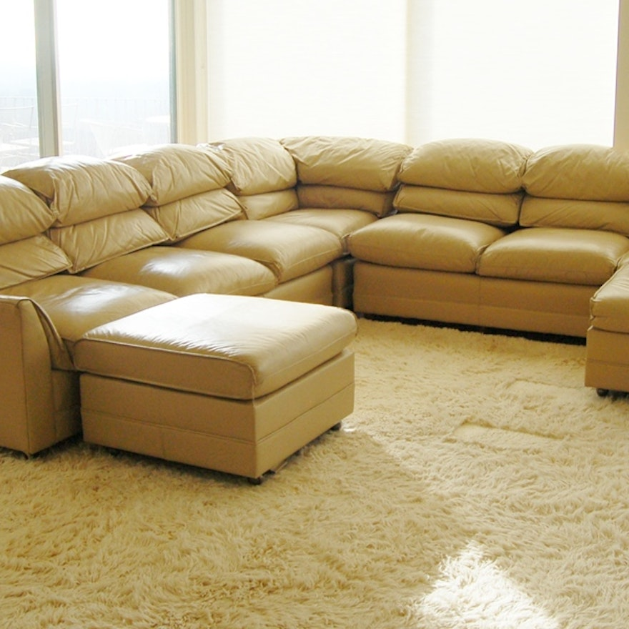 Han Moore Tan Leather Sectional Sofa With Ottomans