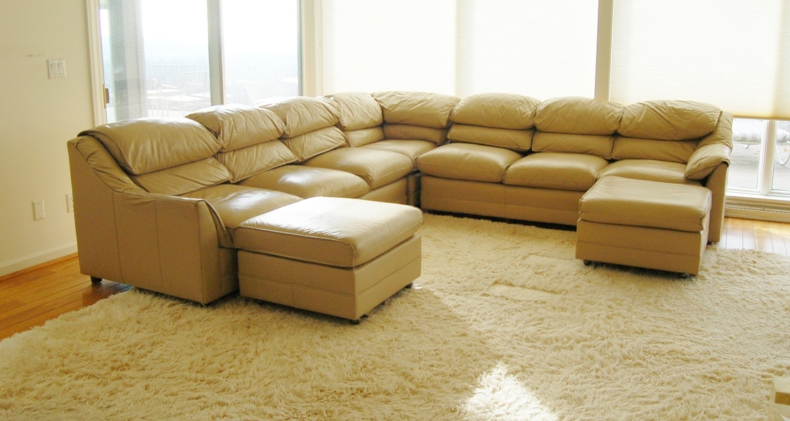 Hancock U0026 Moore Tan Leather Sectional Sofa With Ottomans ...