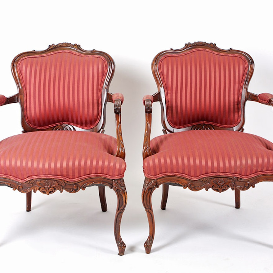 Pair Of Red Striped Fauteuil Chairs
