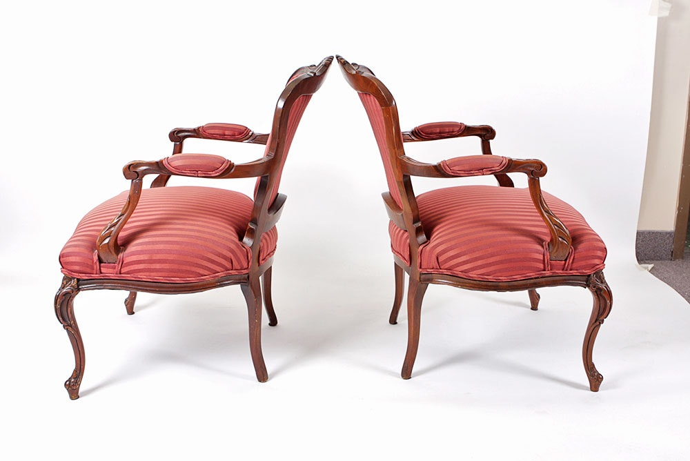 Pair Of Red Striped Fauteuil Chairs Ebth